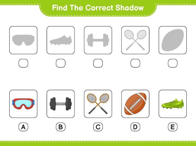Encontre e combine a sombra correta de badminton rackets haltere rugby ball óculos e sapatos