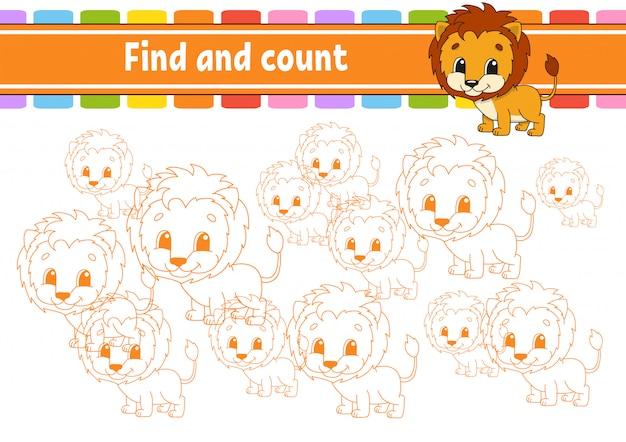 Encontre e conte. planilha de desenvolvimento de educação. página de atividade com fotos. jogo de quebra-cabeça para crianças.