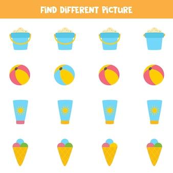 Encontre elementos de verão que sejam diferentes dos outros. planilha para crianças.