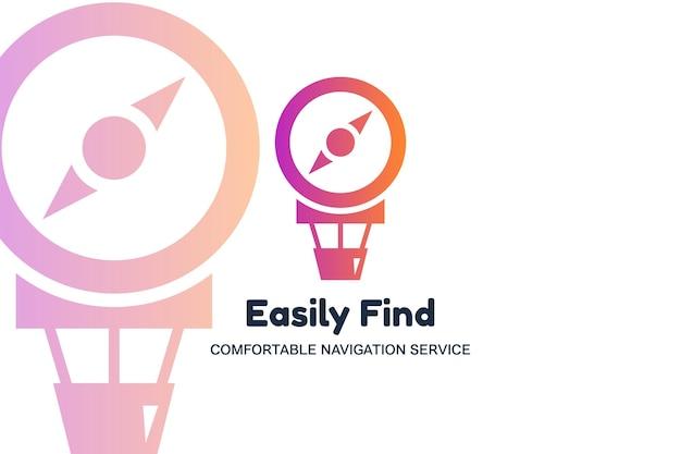 Encontre facilmente o modelo de logotipo de vetor plana. ícone de silhueta de balão e bússola de ar. logotipo do aplicativo gps