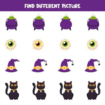 Encontre imagens de halloween que sejam diferentes das outras. planilha para crianças.
