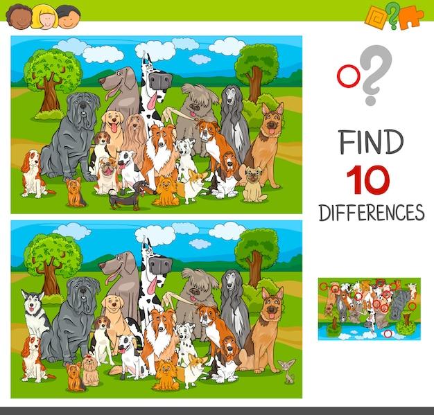 Encontre jogo de diferenças com cães de raça pura