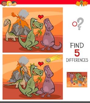 Encontre jogo de diferenças com dinossauros