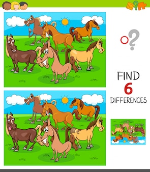 Encontre jogo de seis diferenças com cavalos