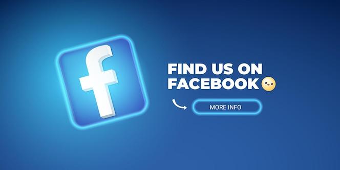 encontre-nos no modelo de banner do facebook