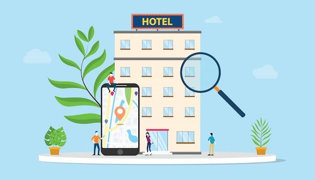 Encontre o hotel ou o conceito de hotéis de busca com a localização de gps de mapas de smartphone