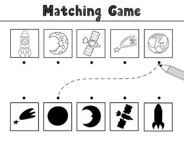 Encontre o jogo de combinação de sombras correto com personagens bonitos do espaço e elementos preto e branco