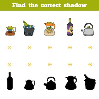 Encontre o jogo de educação de sombra correto para crianças conjunto de utensílios e objetos de cozinha