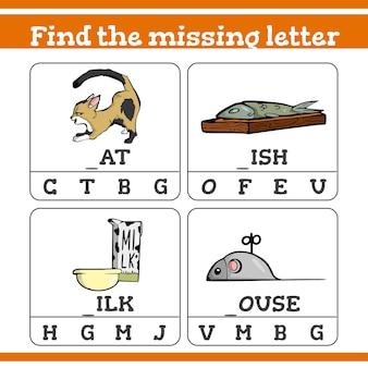 Encontre o jogo de letras que faltam para crianças em idade pré-escolar