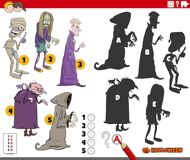 Encontre o jogo de sombras certo para crianças com personagens assustadores de halloween