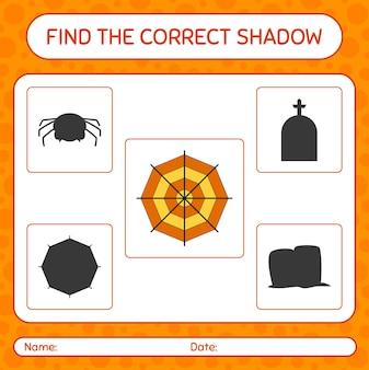 Encontre o jogo de sombras correto com a teia de aranha. planilha para crianças em idade pré-escolar, planilha de atividades para crianças