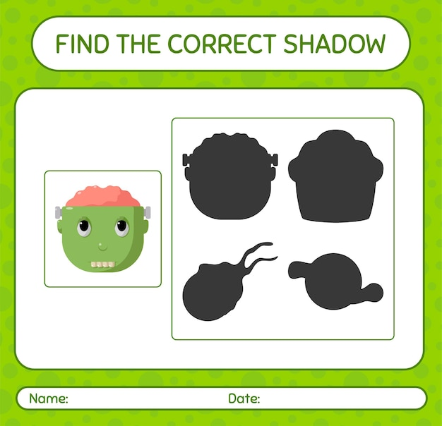 Encontre o jogo de sombras correto com frankenstein. planilha para crianças em idade pré-escolar, planilha de atividades para crianças