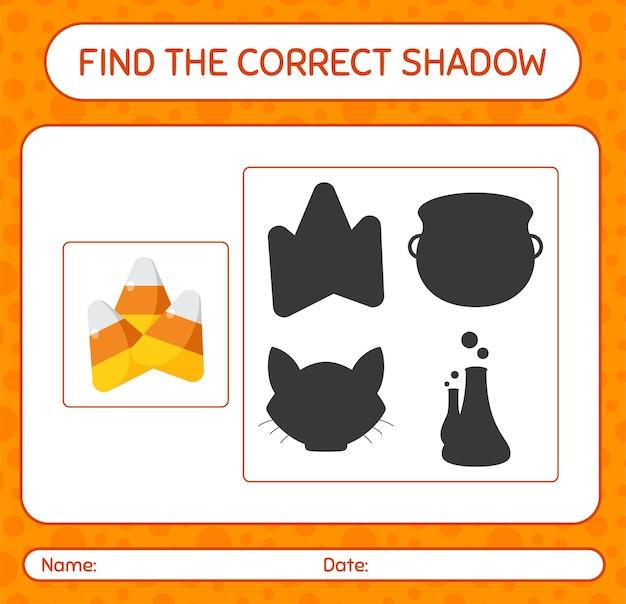 Encontre o jogo de sombras correto com milho doce. planilha para crianças em idade pré-escolar, planilha de atividades para crianças