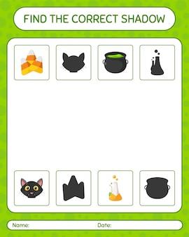 Encontre o jogo de sombras correto com o ícone de halloween. planilha para crianças em idade pré-escolar, planilha de atividades para crianças