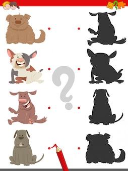Encontre o jogo educacional de sombra com cães