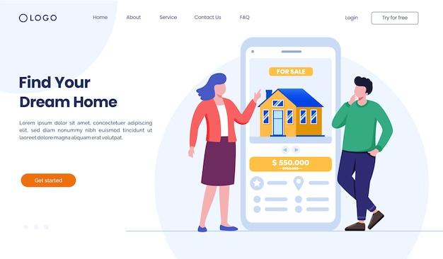 Encontre o modelo de ilustração do site da página inicial dos seus sonhos