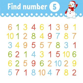 Encontre o número. planilha de desenvolvimento de educação. página de atividade com fotos. jogo para crianças.