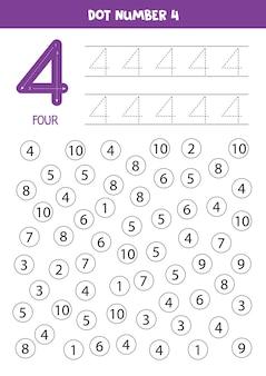 Encontre o ponto número quatro. aprendizagem número 4 com crianças. planilha educacional.