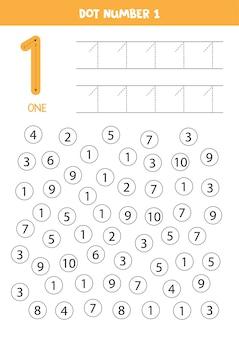 Encontre o ponto número um. aprendizagem número 1 com crianças. planilha educacional.
