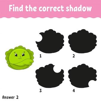 Encontre o repolho sombra correto. planilha de desenvolvimento de educação. jogo de correspondência para crianças