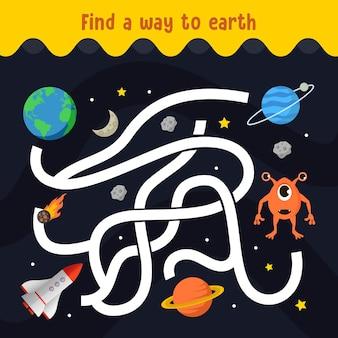 Encontre o seu caminho para o labirinto de planetas alienígenas para o jogo infantil