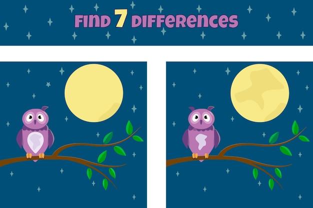Encontre sete diferenças. jogo educativo para crianças. coruja bonita no meio da noite. ilustração.