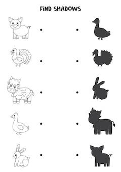 Encontre sombras de animais de fazenda. folha de trabalho em preto e branco. jogo lógico educativo para crianças.