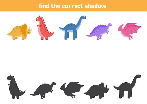 Encontre sombras de cada dinossauro. jogo lógico educativo para crianças.