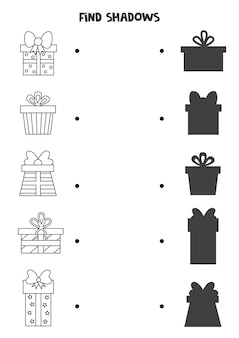 Encontre sombras de caixas de presentes. folha de trabalho em preto e branco. jogo lógico educativo para crianças. Vetor Premium