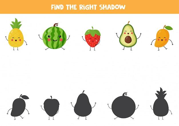Encontre sombras de frutas kawaii fofas. jogo lógico educacional para crianças. planilha imprimível para crianças em idade pré-escolar.