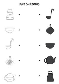 Encontre sombras de utensílios de cozinha. folha de trabalho em preto e branco. jogo lógico educativo para crianças.