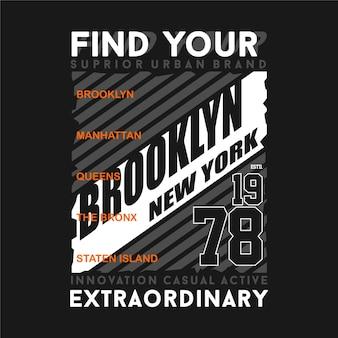 Encontre sua extraordinária ilustração de design de camiseta de tipografia gráfica de nova york