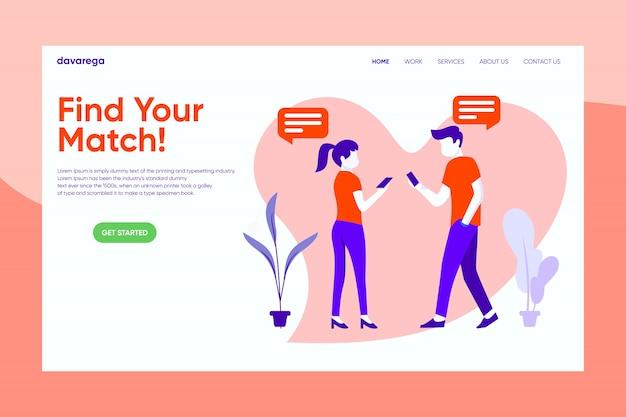 Encontre sua match dating app landing page