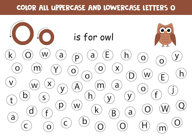 Encontre todas as letras o. planilha educacional para aprender o alfabeto. letras abc. o é para coruja.