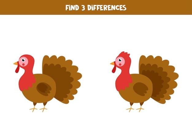 Encontre três diferenças entre dois perus bonitos.