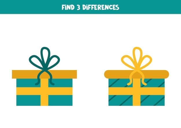 Encontre três diferenças entre dois presentes de natal.