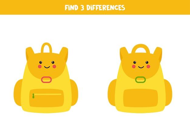 Encontre três diferenças entre duas mochilas fofas.