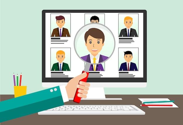 Encontre um emprego, laptop com lista de candidatos e lupa com o ícone de candidato.