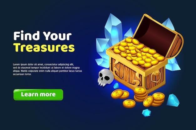 Encontre um estandarte de desenho de tesouro com baú de ouro e pedras preciosas
