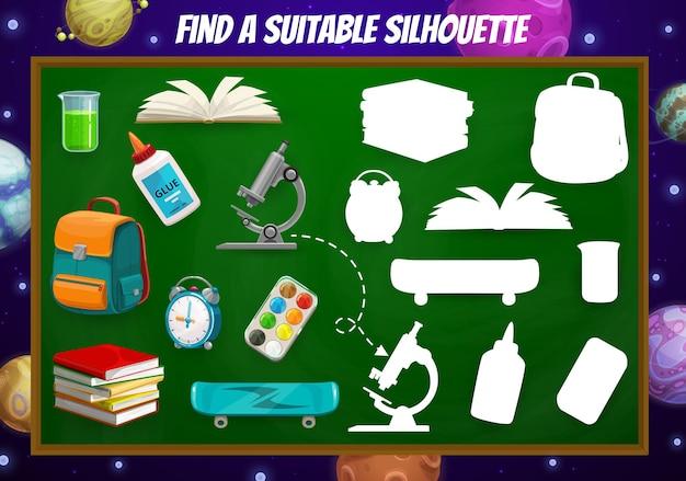 Encontre um item escolar adequado, planilha de jogos infantis