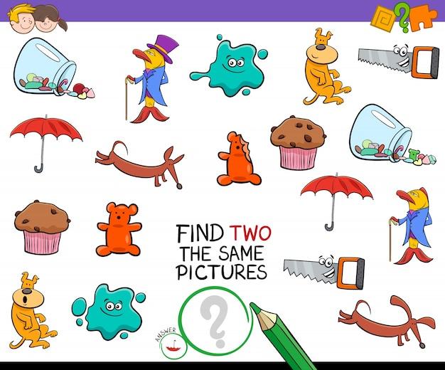 Encontre um jogo de atividades de imagens idênticas