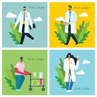Encontre um médico. médicos da equipe em segundo plano. ilustração vetorial em estilo simples
