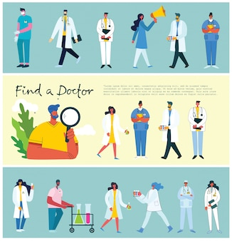 Encontre um médico. origens dos médicos da equipe. ilustração vetorial em estilo simples