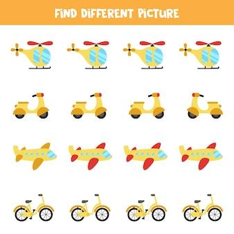Encontre um meio de transporte diferente dos outros. planilha temática de transporte.