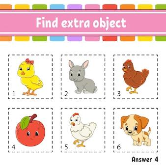 Encontre um objeto extra. planilha de atividade educacional para crianças e crianças. jogo para crianças.