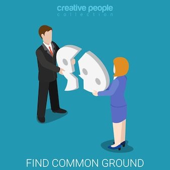 Encontre um terreno comum isométrico plano de reconciliação conceito de reconciliação de estilo de vida