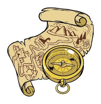 Encontre um tesouro na ilustração do mapa