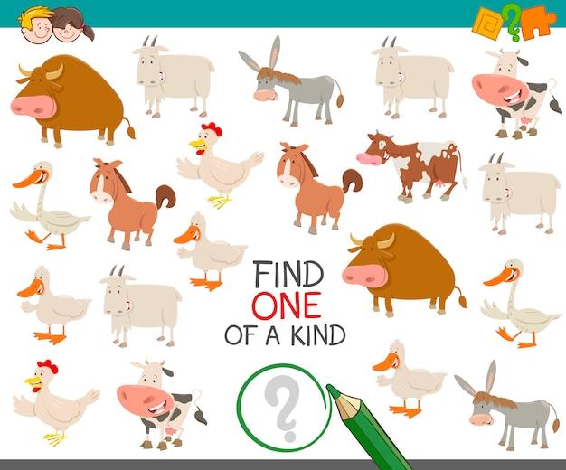 Encontre um tipo com animais de fazenda