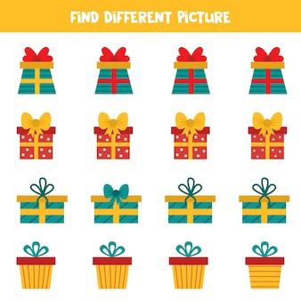 Encontre uma imagem diferente em cada linha. conjunto de caixas de presentes dos desenhos animados.