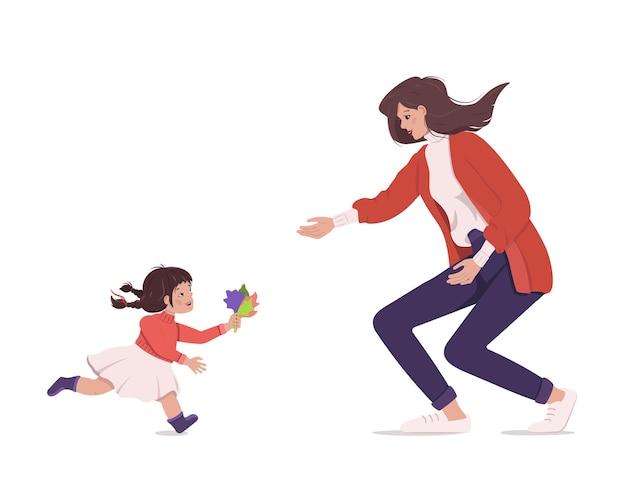 Encontro alegre de mãe e filha